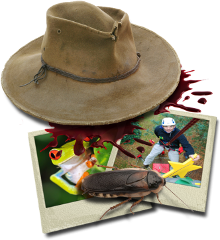 Cork hat with blood spat and bugs
