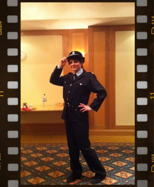 Event Manager Zoe Goode dressed as a police woman, ready to for a murder mystery night!